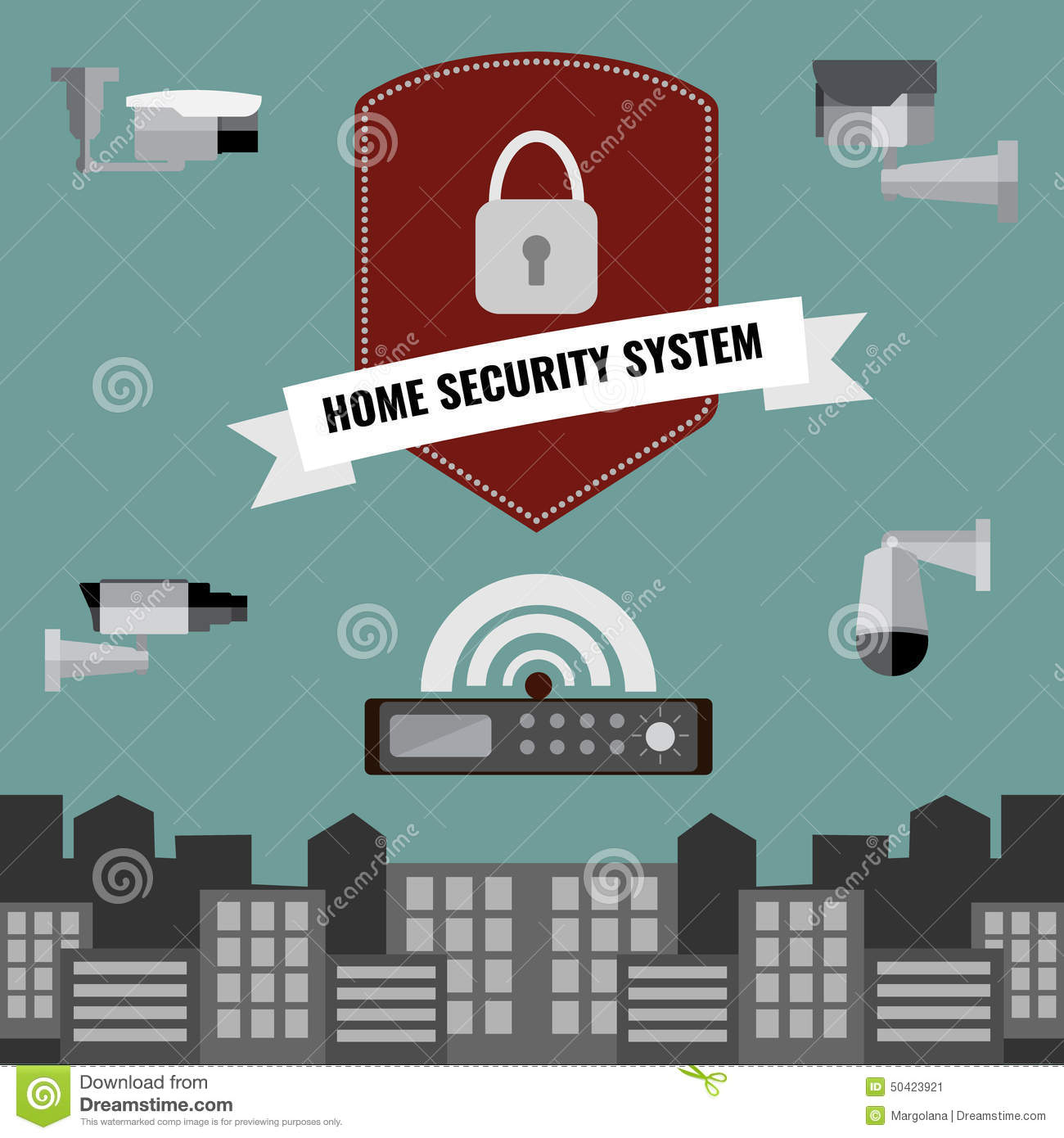 Home Security Cctv Cam System Design Stock Vector Image 50423921