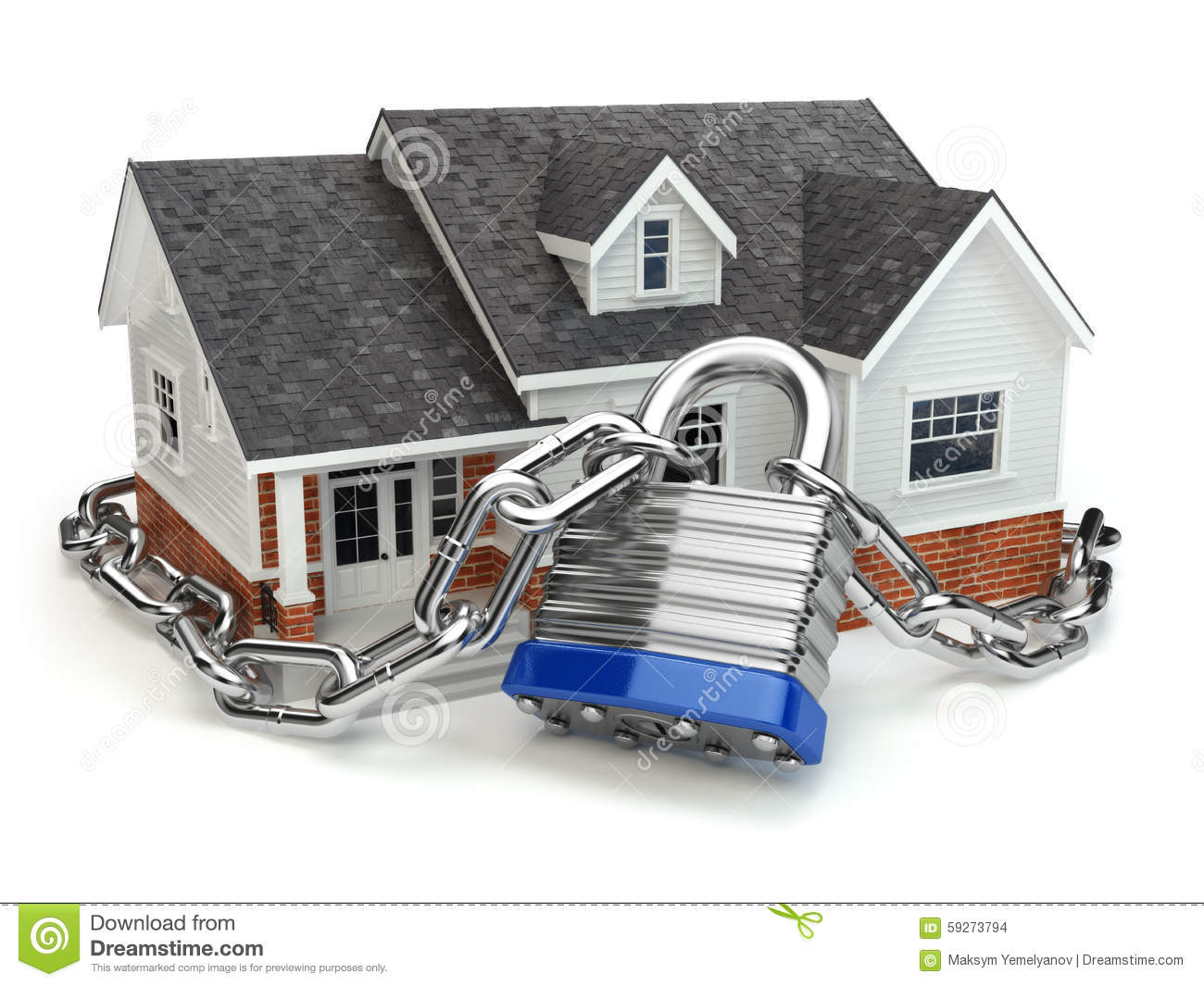Home Security Concept House With Lock And Chain Stock