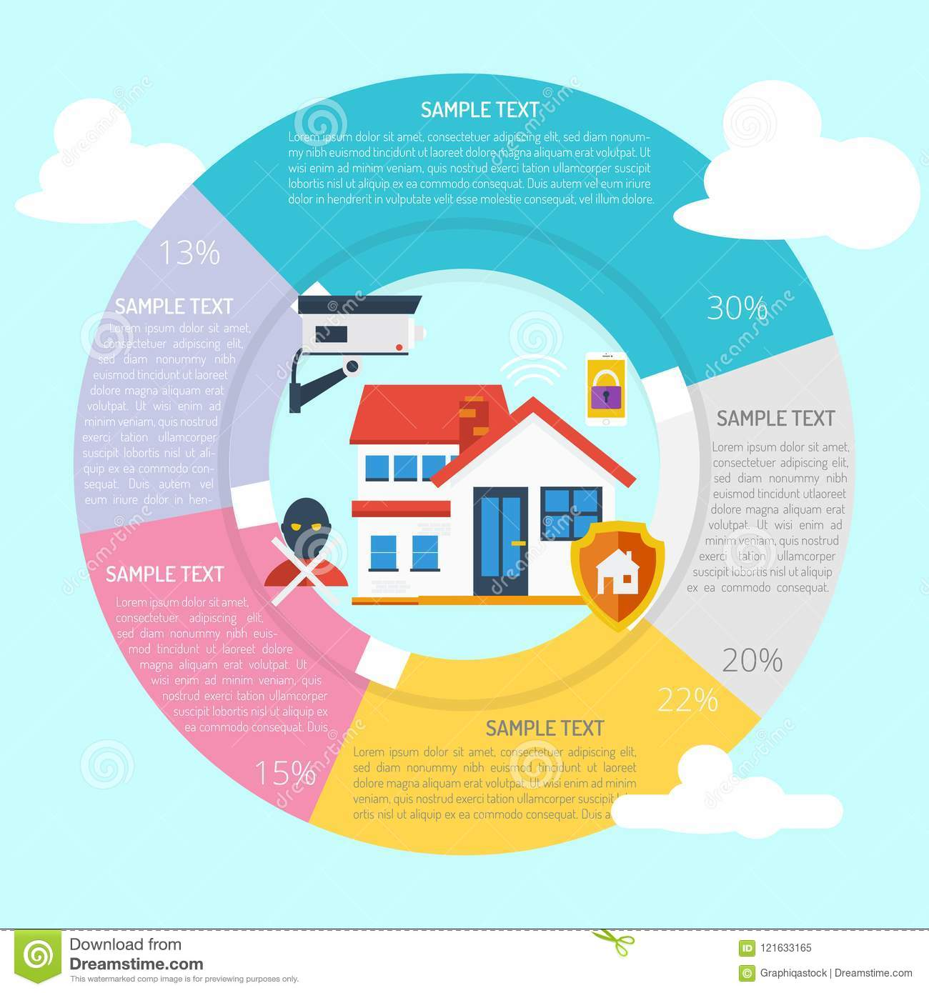 Home Security Infographic Diagram Stock Vector - Illustration of ...