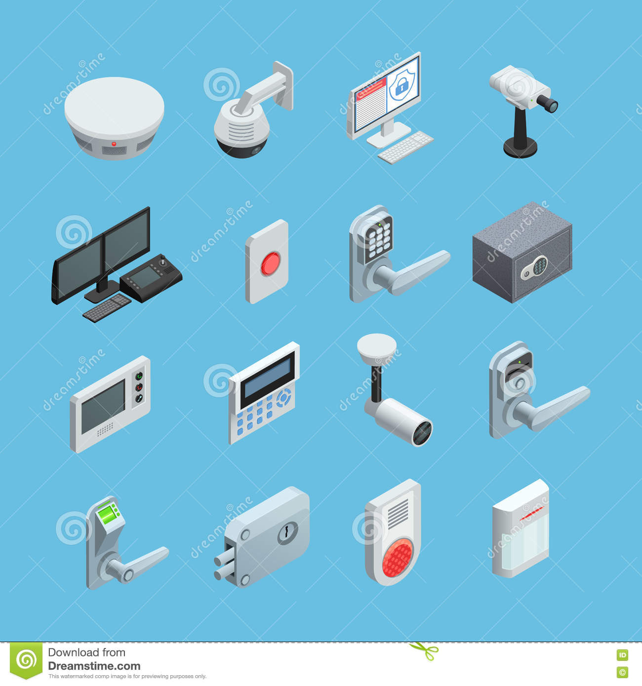 Home Security Isometric Icons Set Stock Vector Image