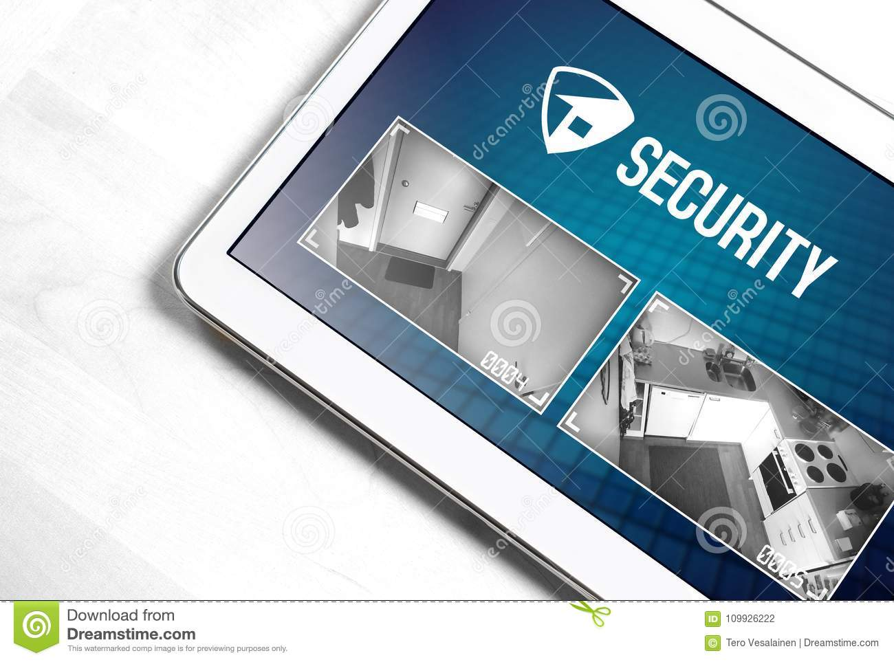 Home Security System And Application In Tablet  Stock Photo
