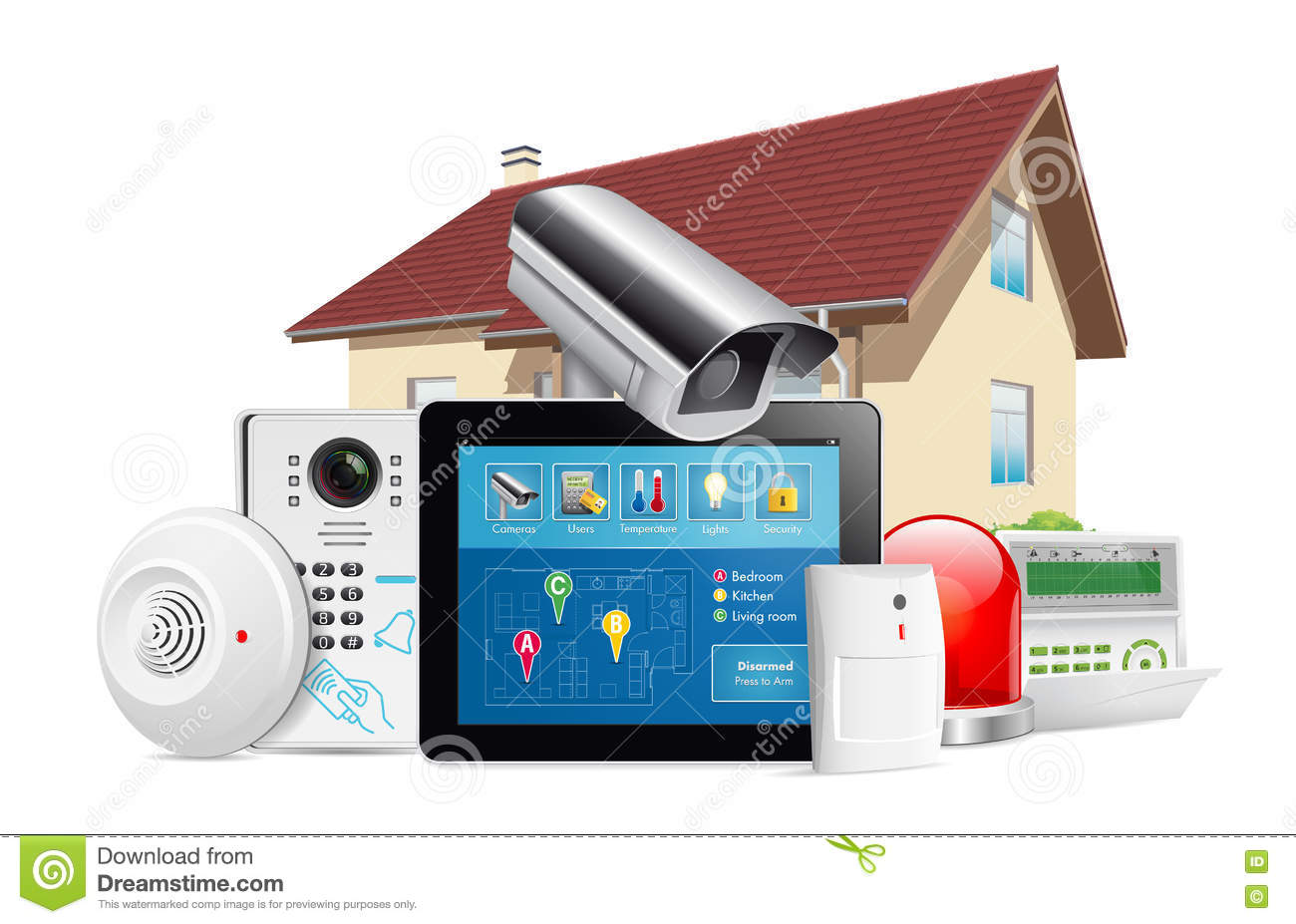 Download Home Security System Concept Stock Vector - Illustration of card cctv: 77720832