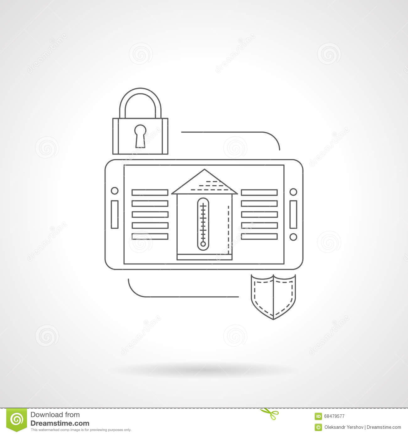 Home Security System Detail Flat Line Icon Illustration 68479577 ...