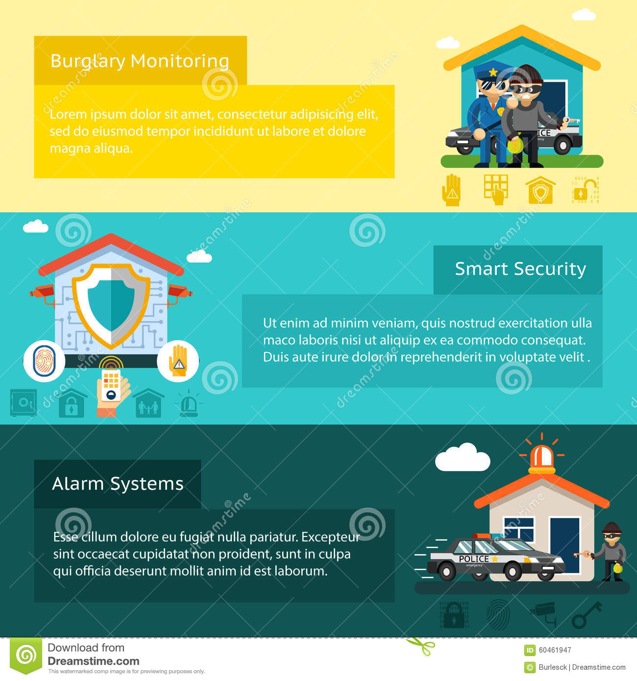 Home Security System Flat Vector Banners Set Stock Vector ...
