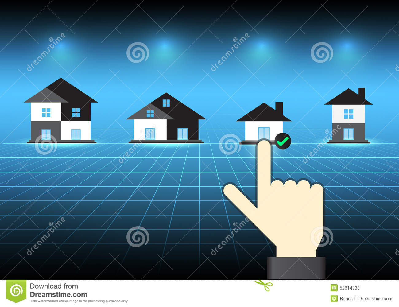 Hand Select Home Symbol Stock Image