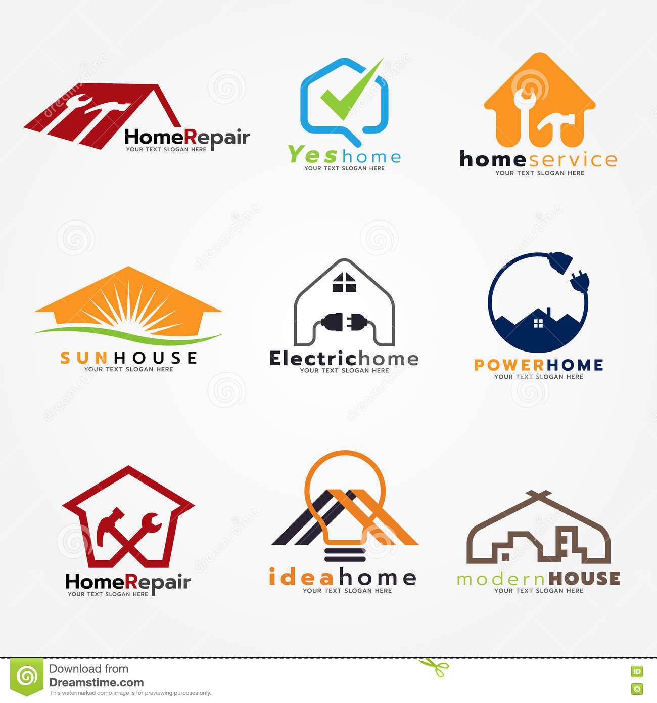 Check mark and circle check mark and business logo vector for Home design services