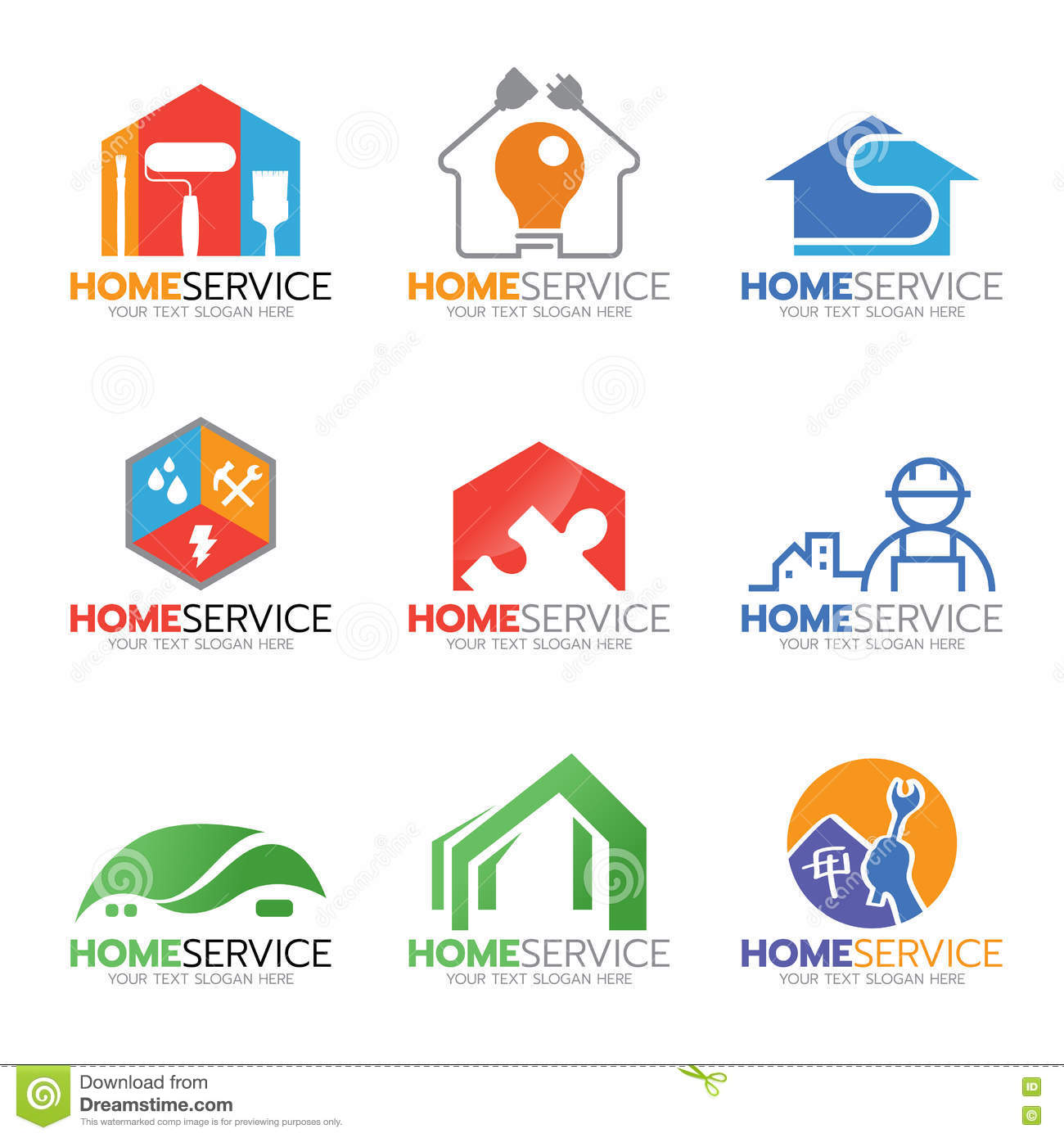 Home service and repair logo illustration set design stock for Home design services