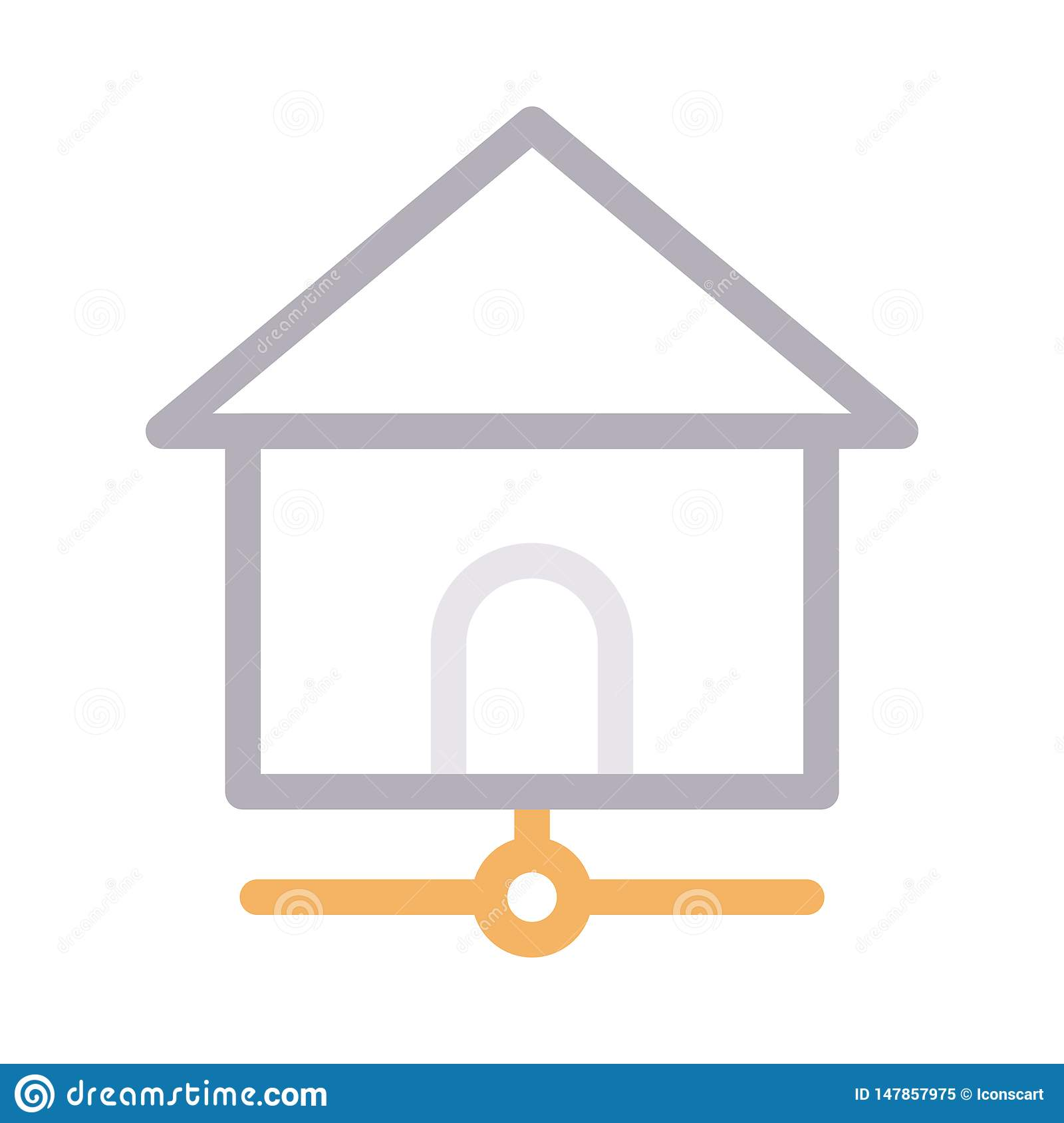 Home sharing thin color line vector icon