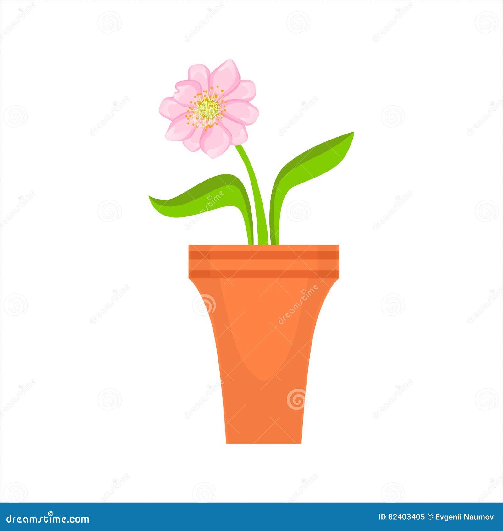 Home Single Pink Flower In The Flowerpot Flower Shop Decorative