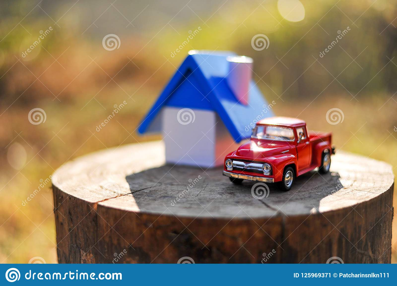 Home and small toy car. Put on the log In the woods and mountain
