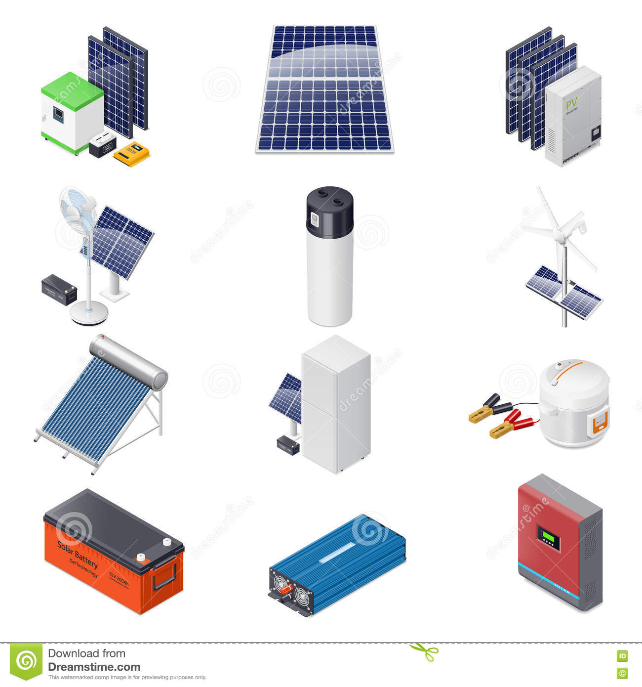 Home Solar Energy Equipment Isometric Icon Set Stock Illustration Panel Wiring Diagram How To Power Your