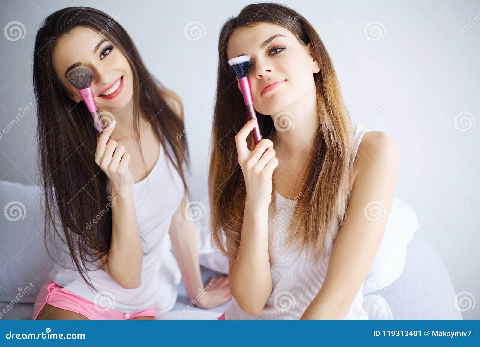 Home Spa Beauty Pure Clean Skin Care Women Applying Facial ...