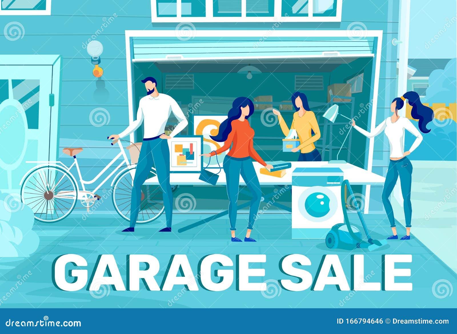 Home Stuff Garage Sale Flat Vector Promo Banner Stock Vector Illustration Of Male Illustration 166794646