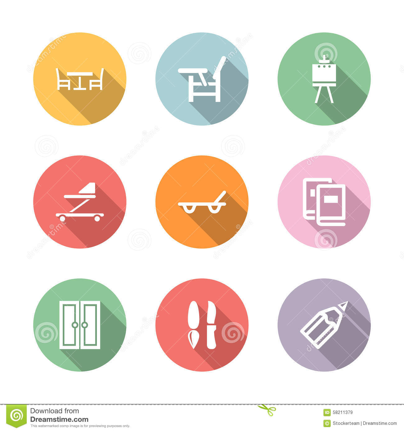 home stuff icon set color with shadow illustration 58211379 megapixl
