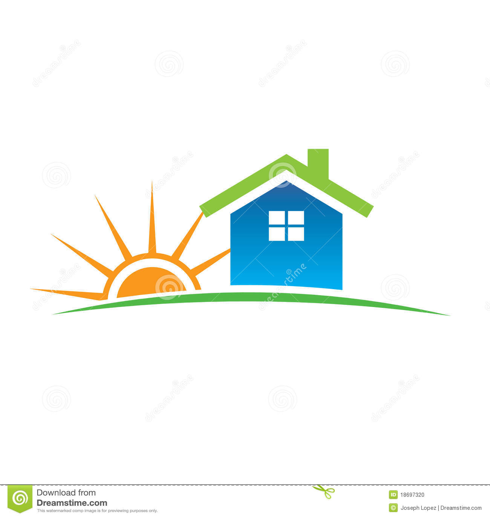 Home And Sunshine Logo Stock Photo - Image: 18697320