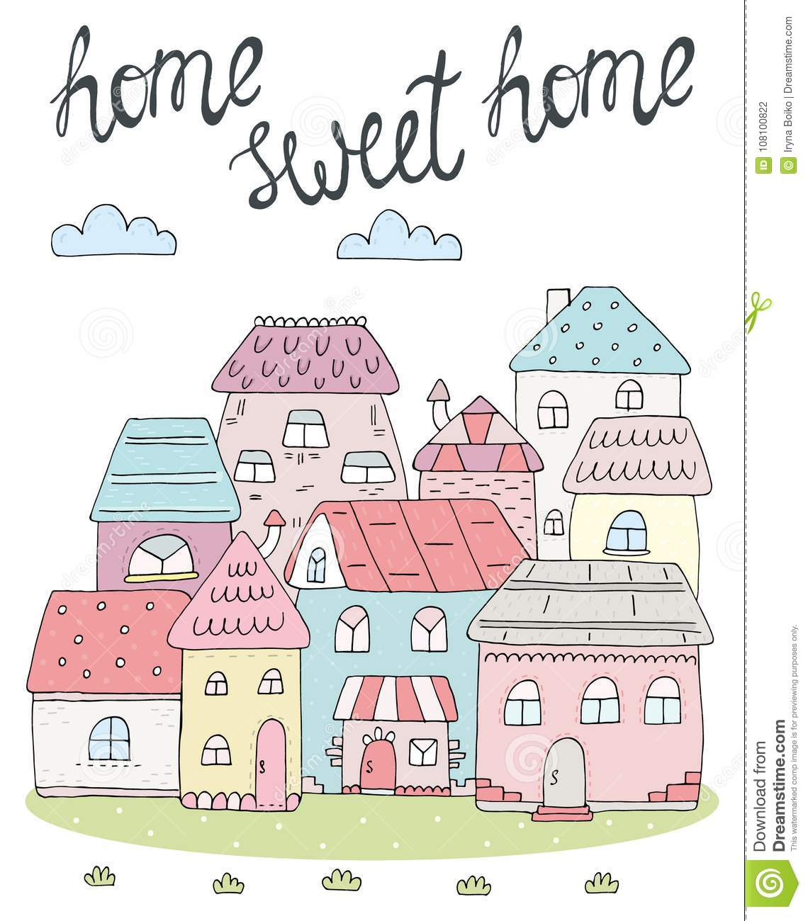 photo relating to Home Sweet Home Printable named Residence Cute Property Card. Hand Drawn Colourful Residences. Vector