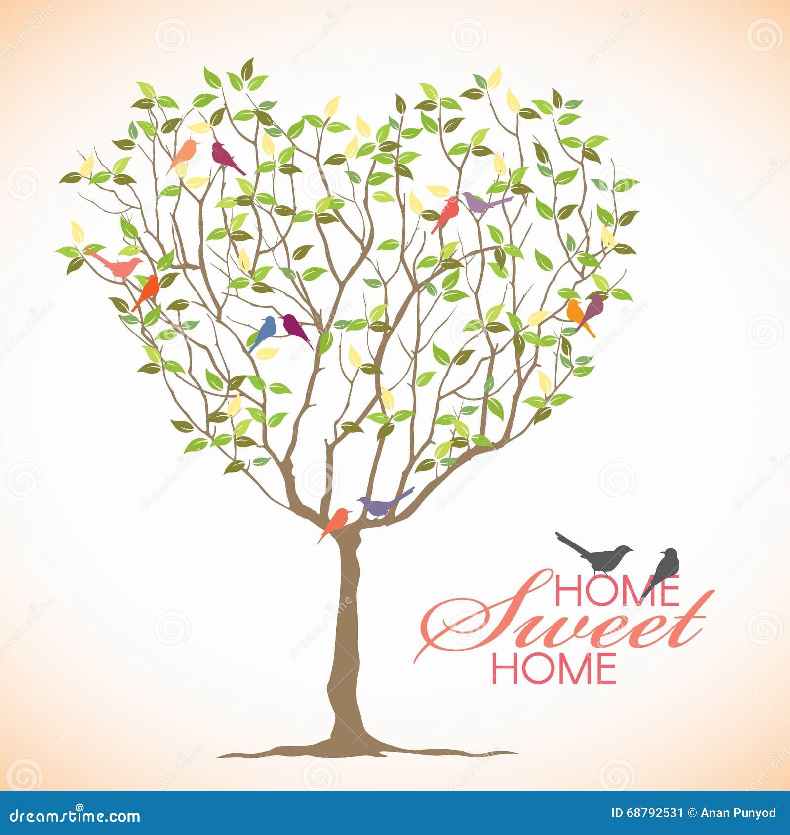 Home Sweet Home - Bird And Heart Tree Vector Design Stock Vector ...
