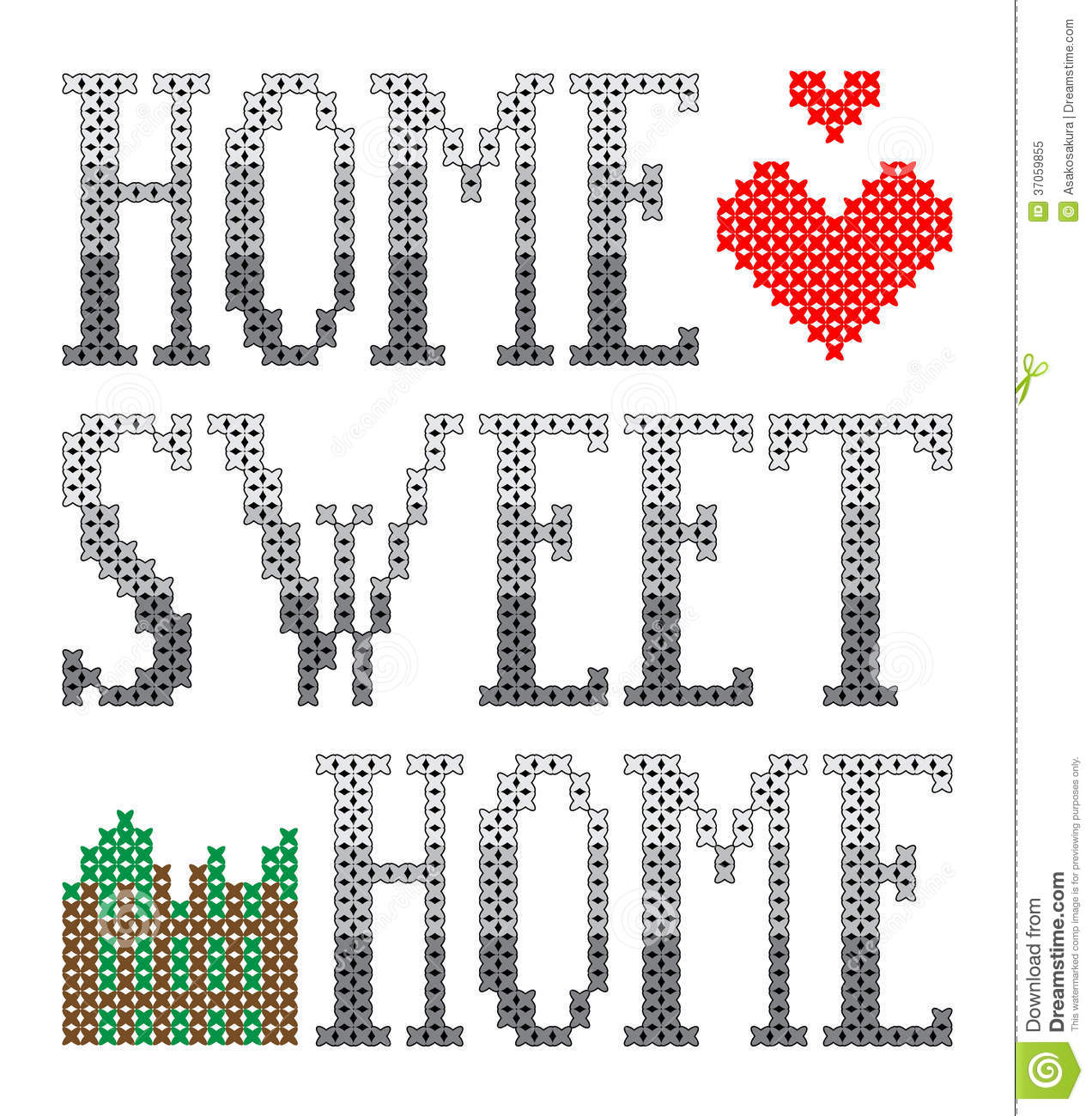 Home sweet embroidery royalty free stock photo