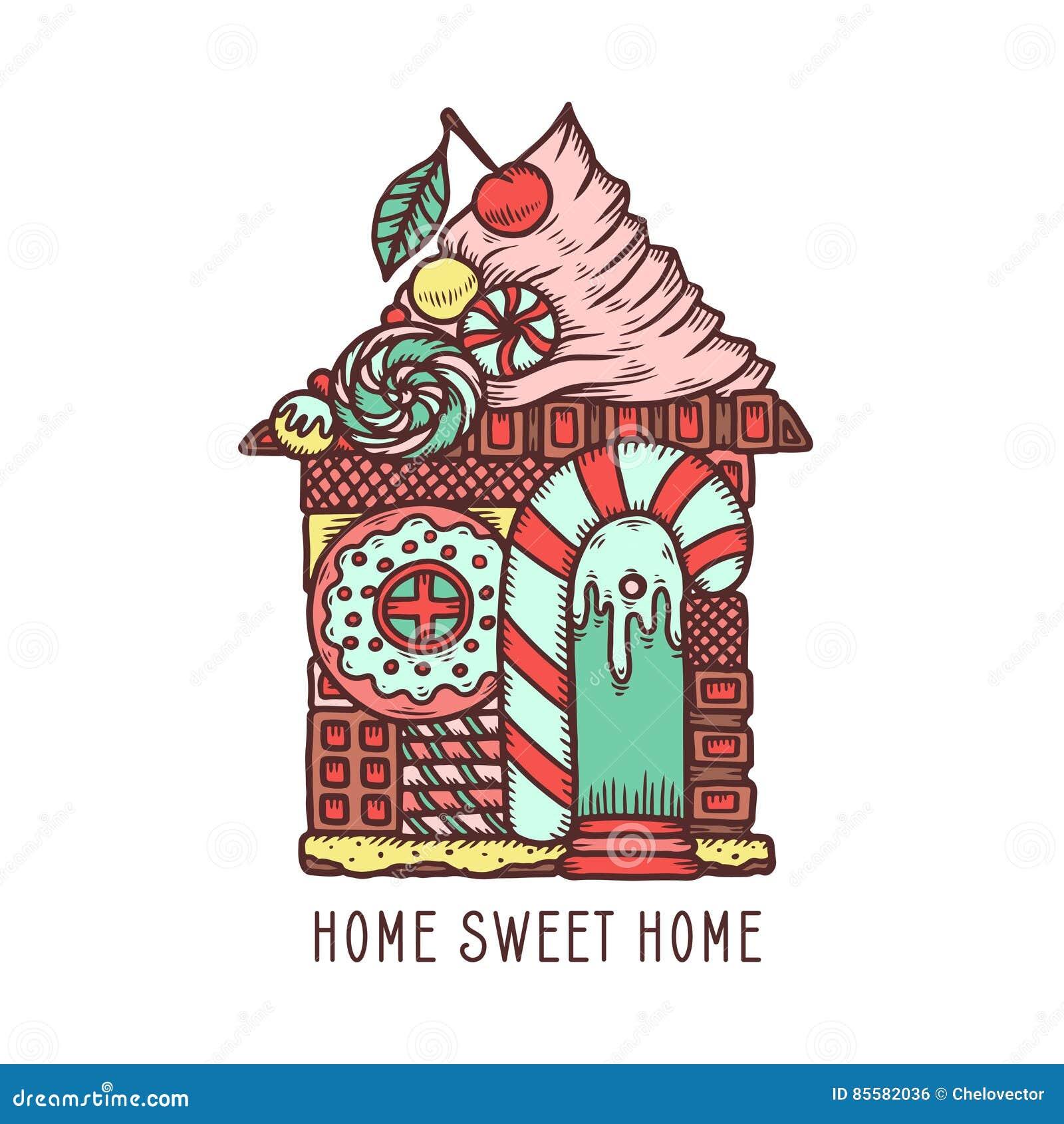 Home Sweet Home Hand Drawn Poster Vector Vintage Illustration Stock Vector Illustration Of Emblem Dessert 85582036