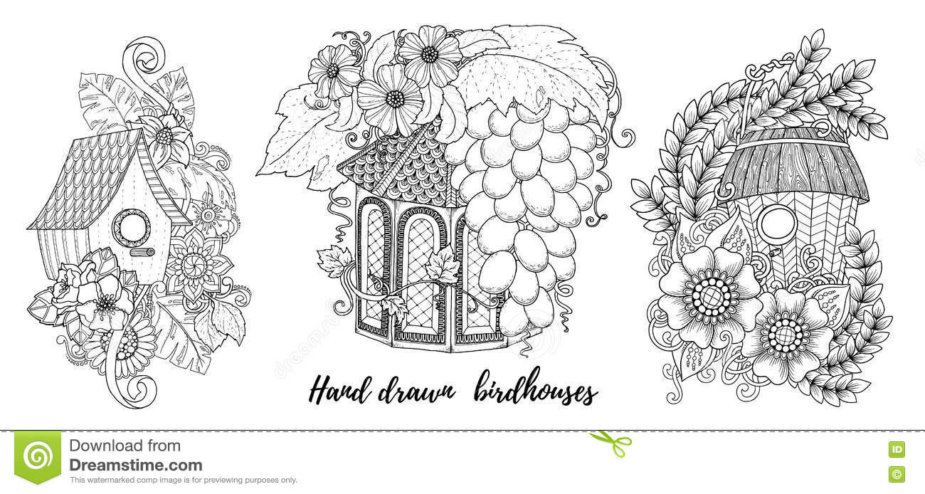 Home Sweet Home Invitation Cards Floral Invites Boho Style Coloring Book Page Stock Vector
