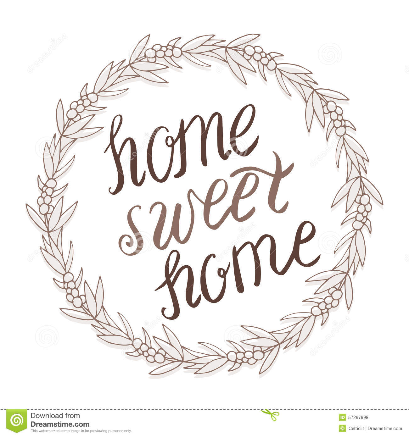 Home sweet lettering in wreath stock vector image
