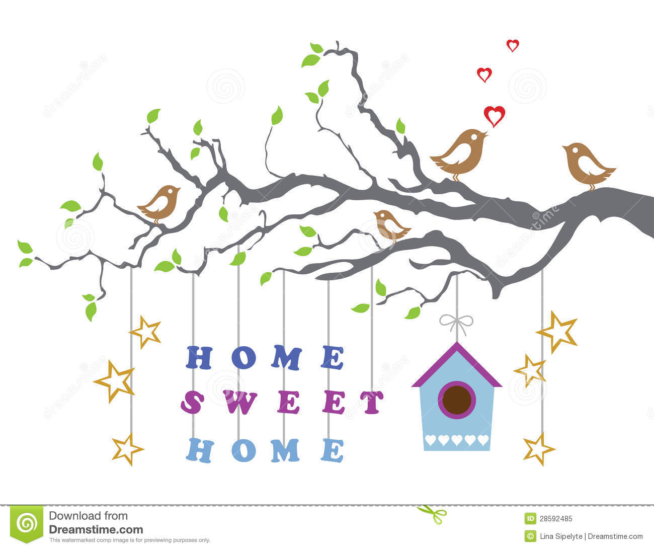 Home Sweet Home Moving In New House Greeting Card Stock Vector