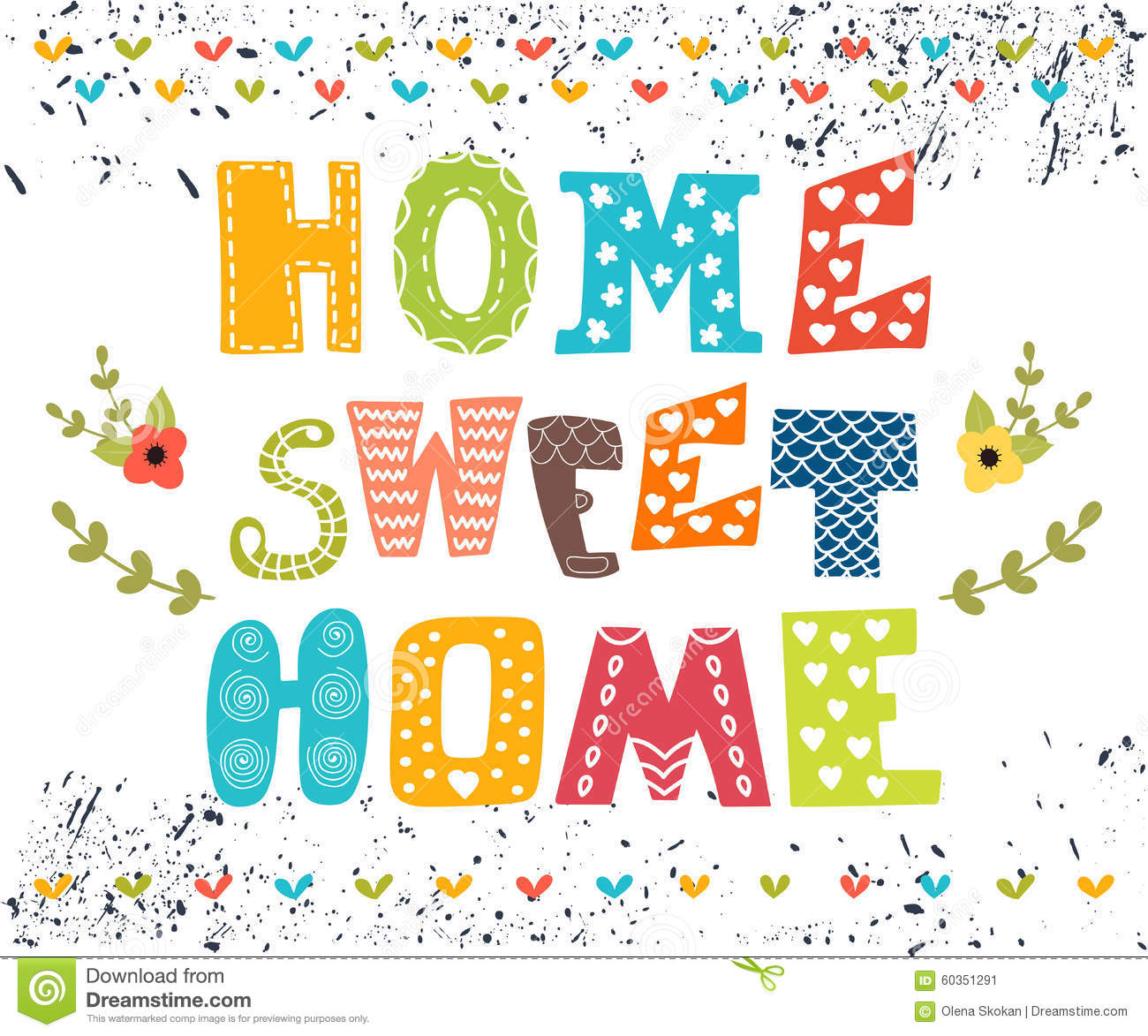 Home sweet home poster design with decorative text stock vector image 60351291 - Home sweet home designs ...