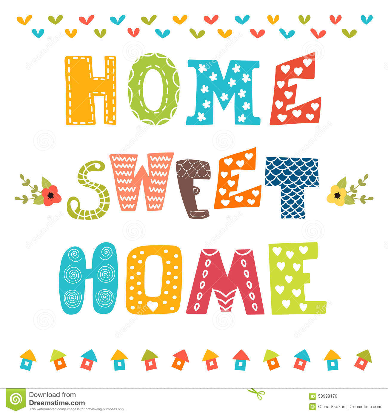 Home Sweet Home. Poster Design With Decorative Text. Vector Illustration  Royalty Free Stock Image