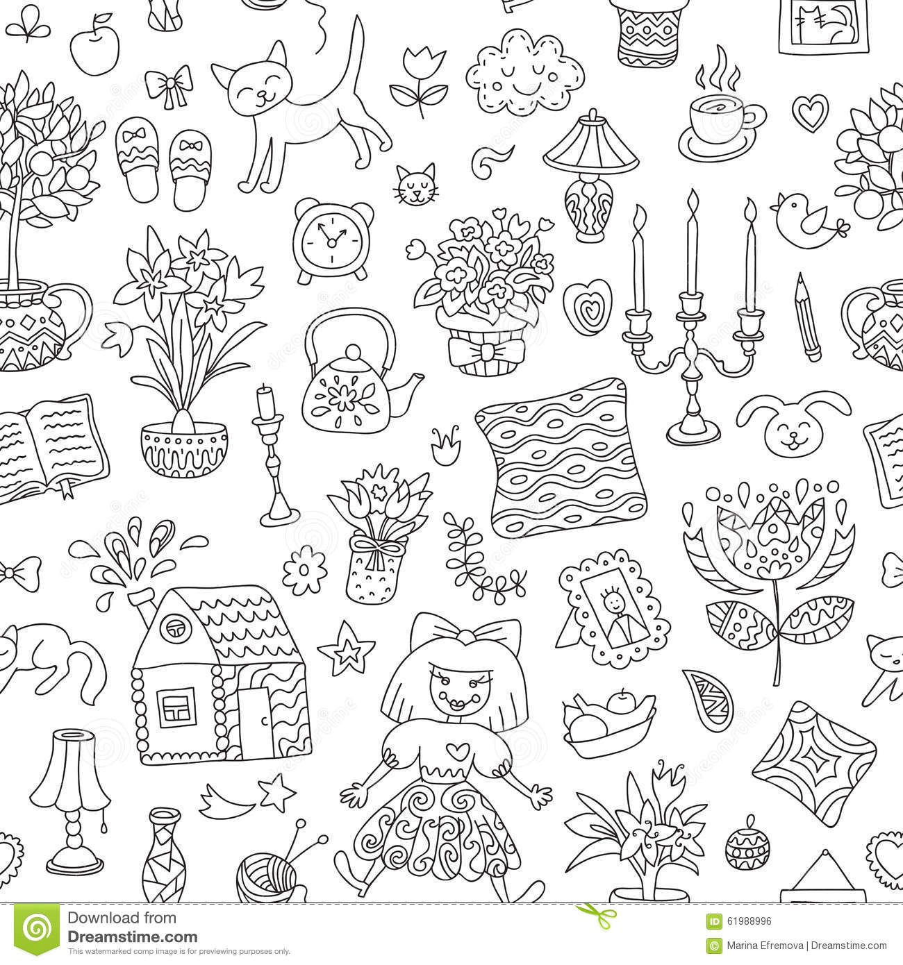 Vector home sweet home seamless vector pattern with home interior