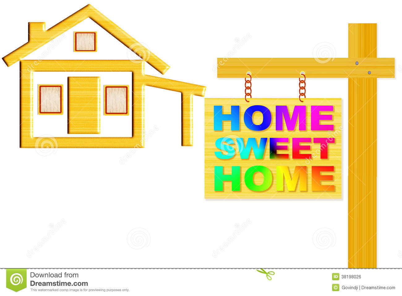 Home Sweet Home Sign Board With Post And Home Icon Design Royalty Free Stock Image - Image: 38198026