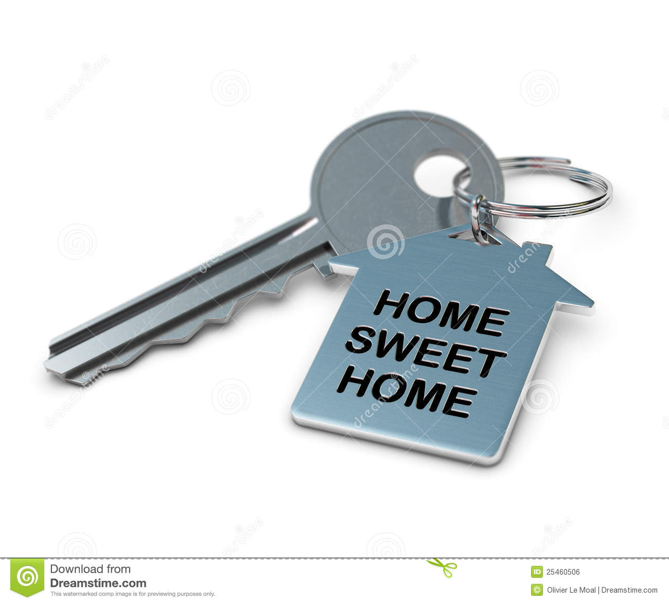 Home sweet home written onto a metal keyring, home shape. metallic key