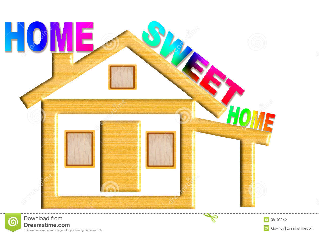 Home sweet home words with home icon design stock for Home sweet home designs