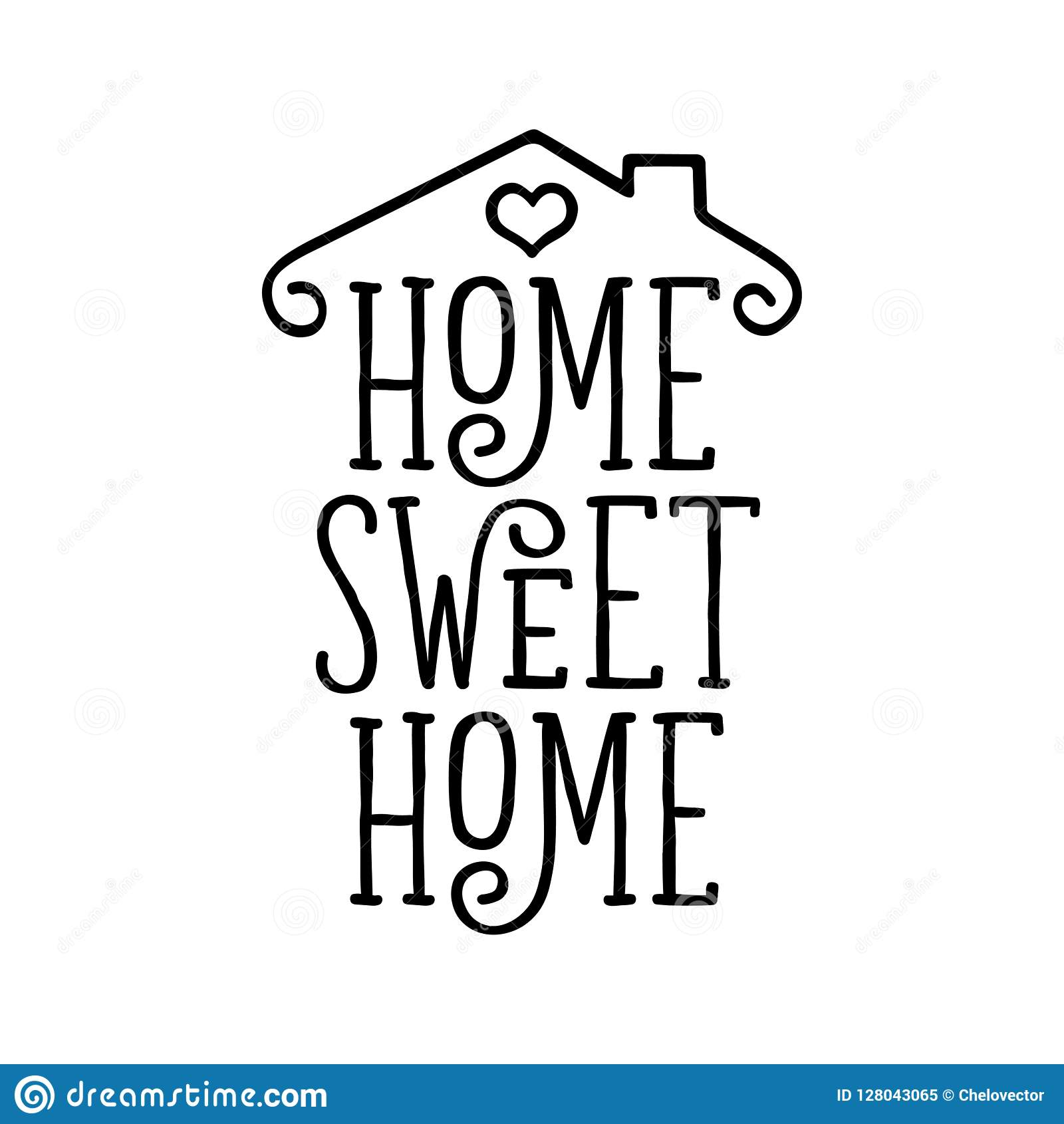 Home Sweet Home Typography Poster Vector Vintage Illustration Stock Vector Illustration Of Positive Inspiration 128043065