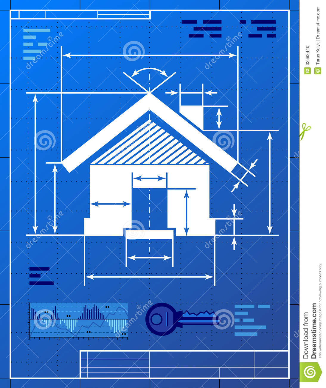 Building construction blueprints : Home symbol like blueprint drawing stock vector