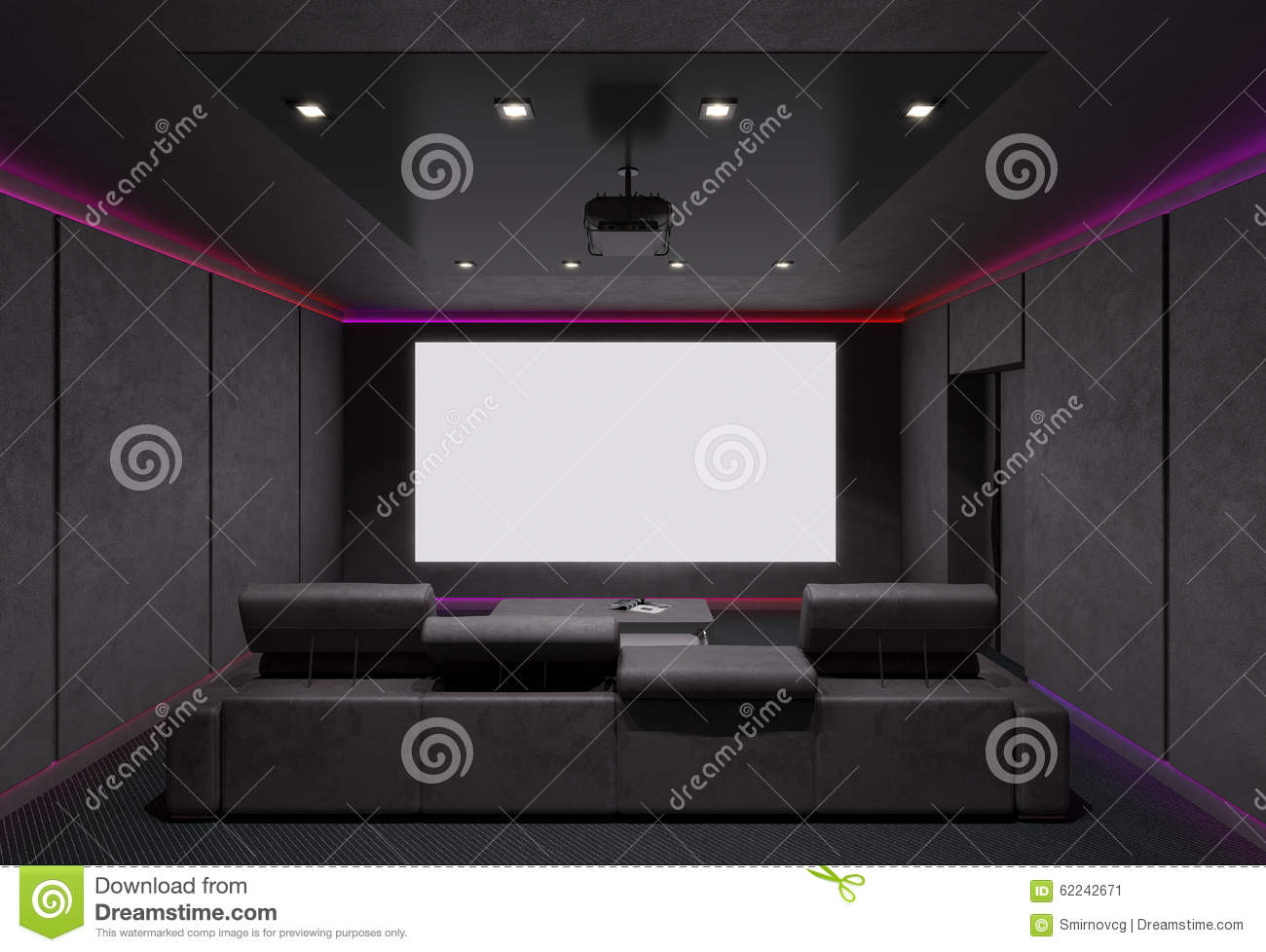 Home Theater Interior. 3d Illustration. Stock Illustration  Image