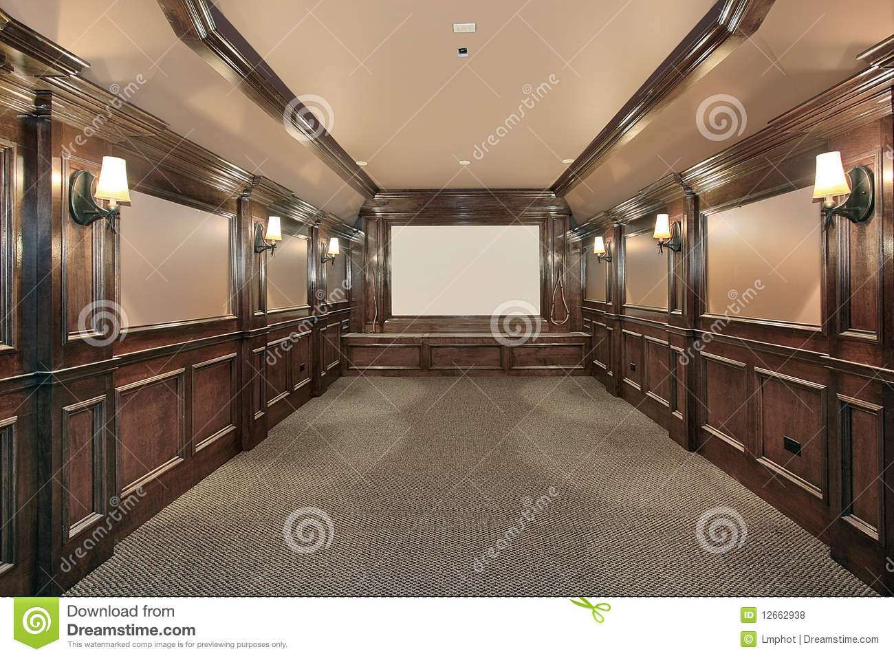home theater with wood paneled walls royalty free stock photos image