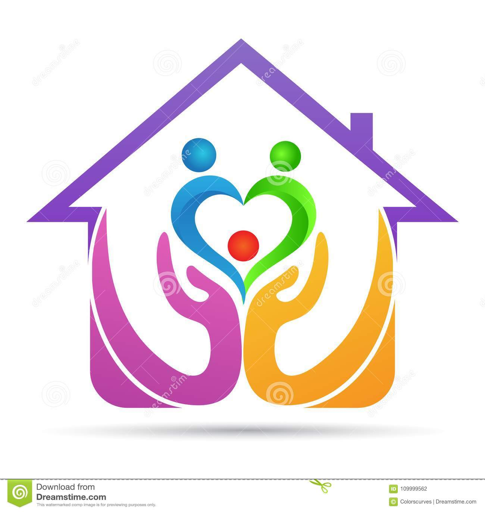 Home trust care people elder couple family love logo design