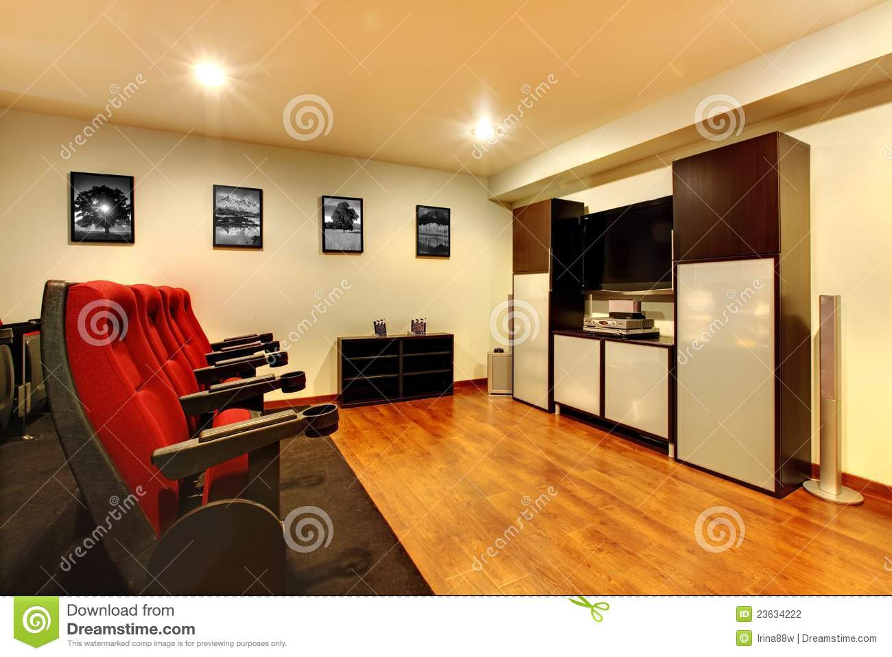 Home Tv Movie Theater Entertainment Room Interior Stock Photo Image Of American Living 23634222