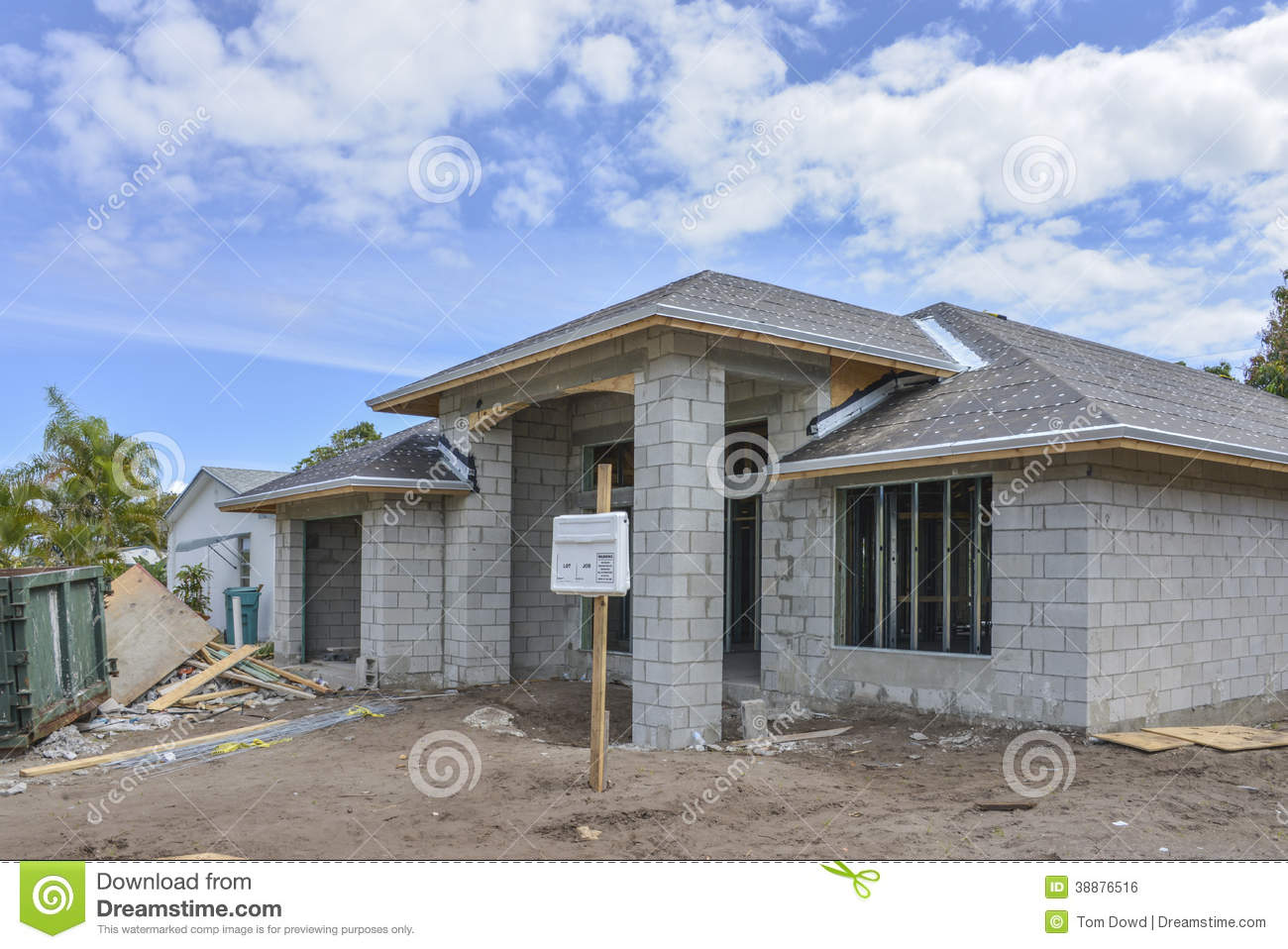 Home under construction stock photo image of door site for Concrete block home plans