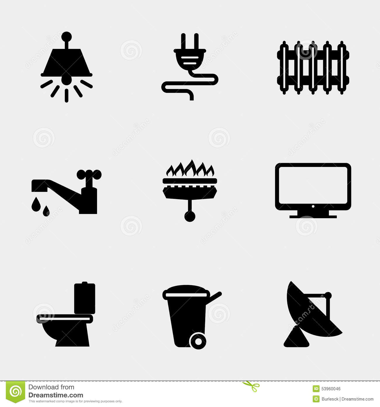 Home Utilities Icons Stock Vector Image 53960046