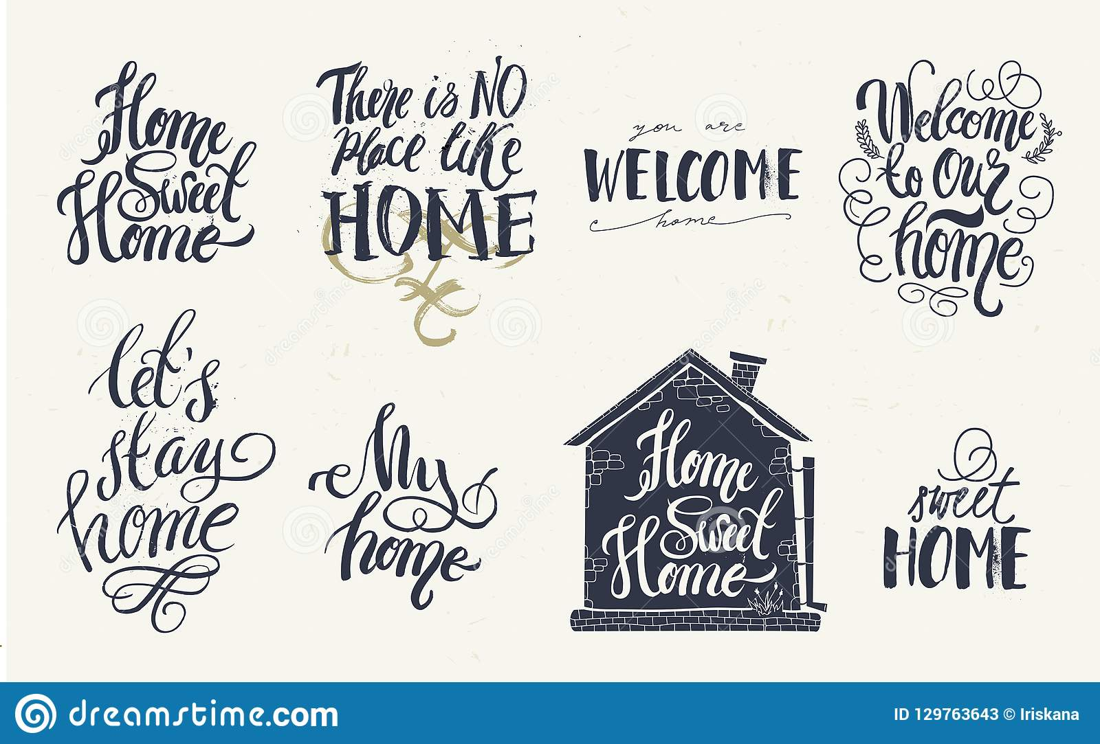 home and welcome decor quotes signs set isolated on white