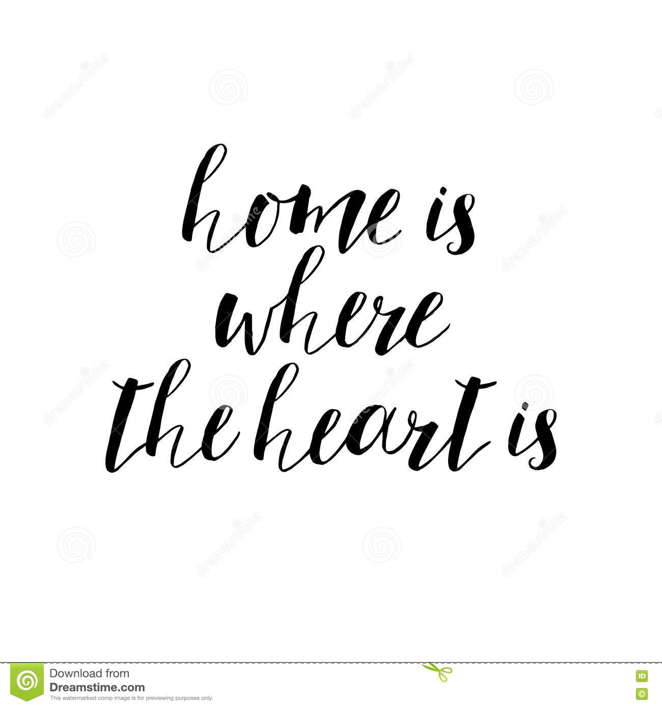 home is where the heart motivational quote typography art vec stock vector illustration of. Black Bedroom Furniture Sets. Home Design Ideas