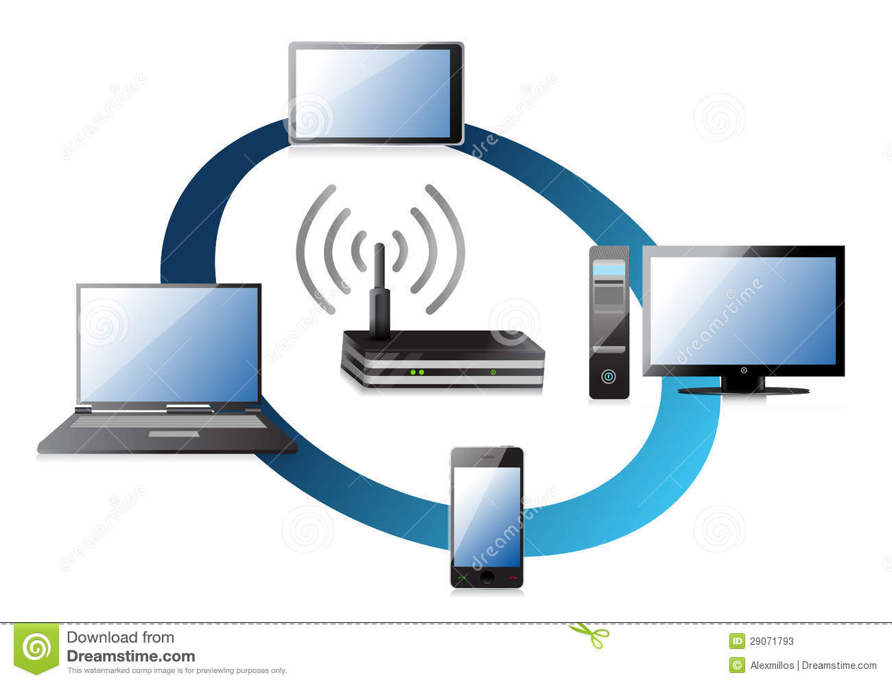 Home wifi network concept stock illustration. Image of ...