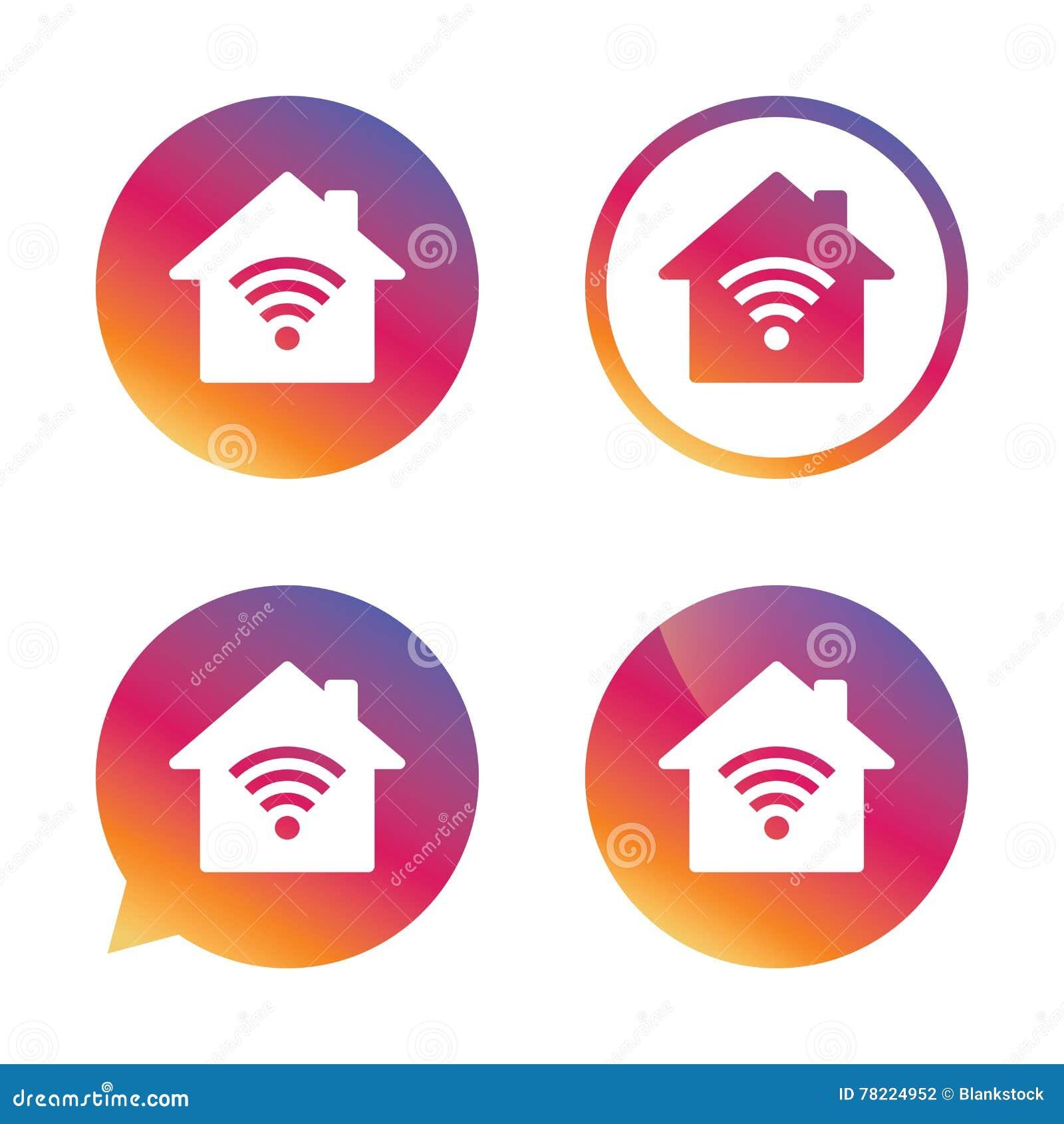 Home Wifi Sign Wifi Symbol Wireless Network Stock Vector - Home wireless network design