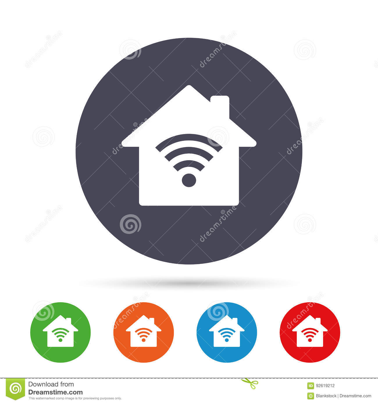 Home Wifi Sign. Wi-fi Symbol. Wireless Network. Stock Vector ...