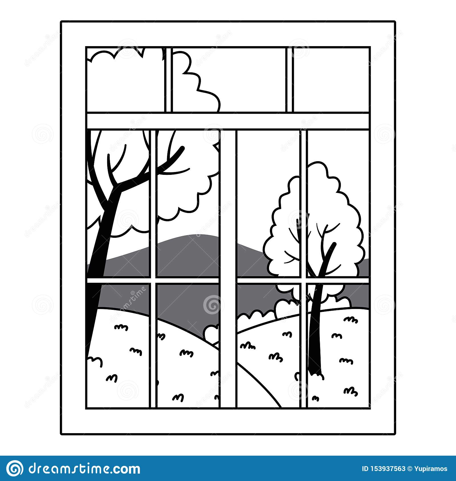 Home Window And Landscape Design Vector Illustrator Stock Vector Illustration Of Looking Clipart 153937563