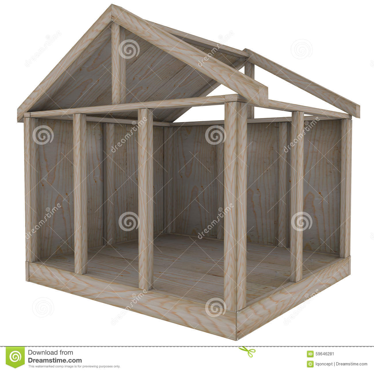home wood frame house foundation new construction building stock image