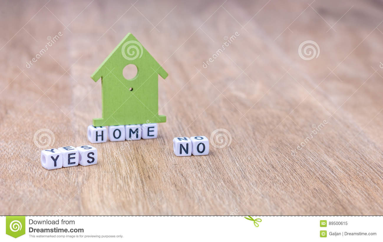 HOME YES NO Horizontal Word Of Cube Letters With Green House Symbol