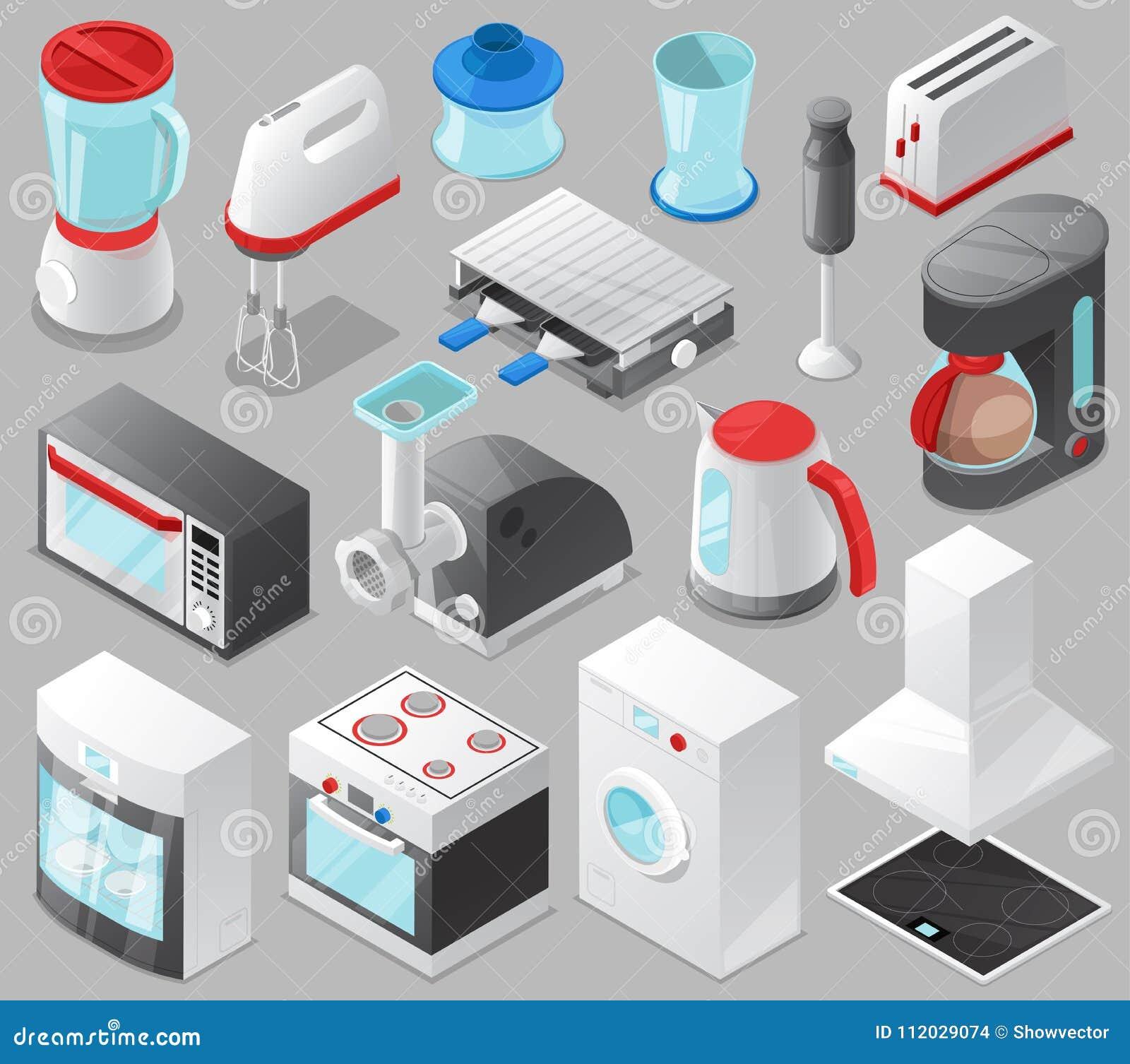 Homeappliancen för kök för vektorn för hushållanordningar för husuppsättningspis eller tvagningmaskinen i elkraft shoppar och mik