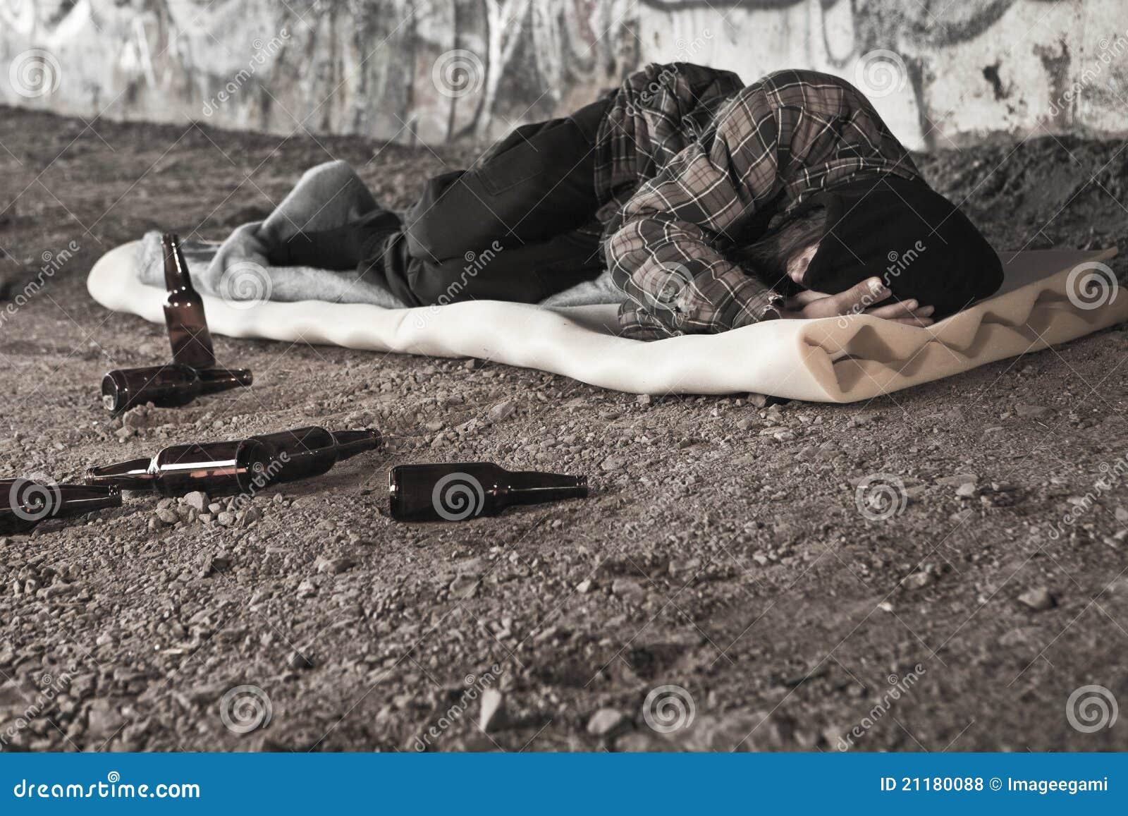 Homeless alcoholic man